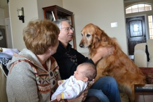 Nana, Papa, Avery at 1 month, and Abby.